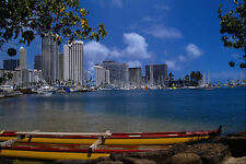 589048 Outrigger And Waikiki Skyline A4 Photo Print