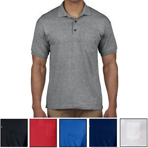 Mens-Polo-Shirt-with-Pocket-Gildan-Mens-Dri-Blend-Moisture-Wicking-Sizes-S-XL