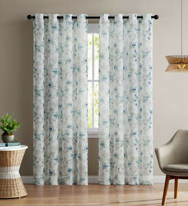 Single Teal And White Sheer Curtain Panel Grommets Floral Design