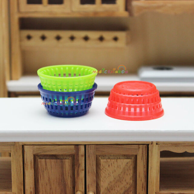 3 x Plastic Baskets for Vegetable Fruit Storage Kitchen Dollhouse Miniature 1:12