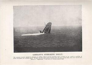 1918 WW1 Weltkrieg I WWI Aufdruck ~ DEUTSCHLANDS Submarine Politik ~ Sinking