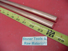 2 Pieces 12 C110 Copper Round Rod 24 Long H04 Solid Cu New Lathe Bar Stock