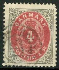 DENMARK - DANIMARCA - 1870/71 - Cifra e stamma in doppio - 4 s. grigio e carm.
