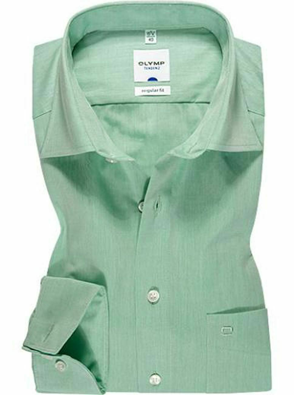 Mint Chambray Spread Collar