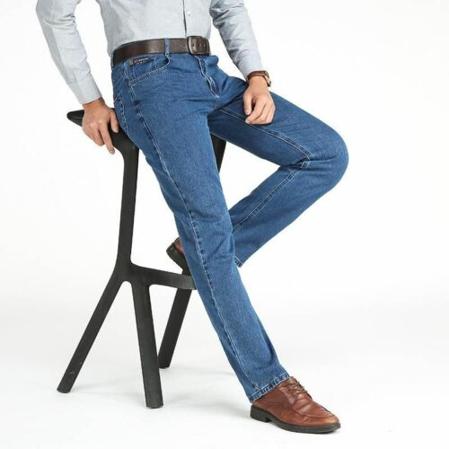 Thin Straight Jeans Middle-aged Denim Solid For Men Classic Business Trousers