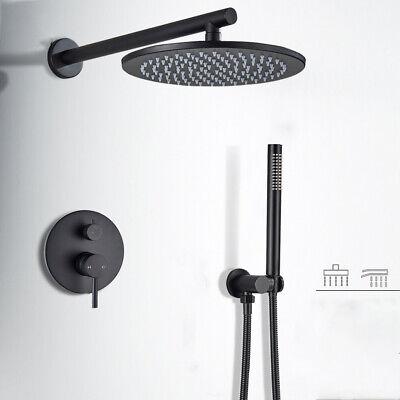 Schwarz 10/'/' Duschsystem Unterputz Duschset Duschkopf Kopfbrause Duscharmatur