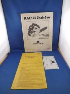 MCCULLOCH-CHAIN-SAW-MAC-140-INSTRUCTION-BOOK-MANUAL-1977-WARRANTY-PACKED-BY-CARD