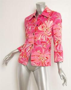Geblümt Freizeit Dolce Rosa Gabbana Knopf Damen Baumwolle Jacke amp; Leinen Kristall htQrsdCx