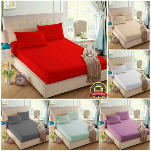 Mattress Fitted Sheet 100/% Egyptian Cotton 200 TC Durable Soft /& Comfortable
