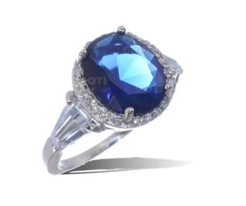 Large Blue Sapphire Oval Cut w// White Sapphire Baguette Sterling Silver Ring