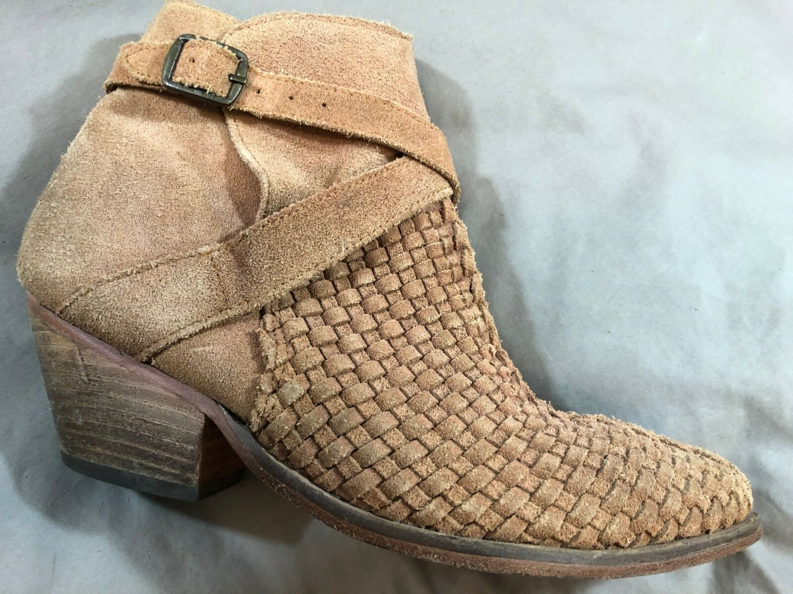 Free People Venture Adobe Tan Woven Suede Pointed Ankle stivali Wouomo Dimensione 8