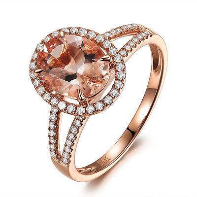 Morganite Engagement Wedding Ring 14K Rose Gold Halo 0.35ct Diamonds Oval 7x9mm