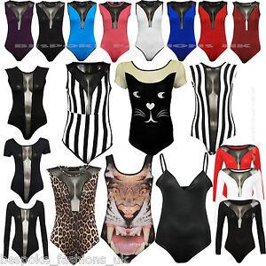 Ladies-Mesh-Detail-Wet-Look-Various-Print-Women-039-s-Stretchy-Bodysuit-Leotard-Top