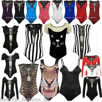 Ladies Mesh Detail Wet Look, Various Print Women's Stretchy Bodysuit Leotard Top