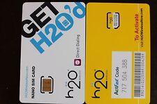 2 X H2O WIRELESS OEM NANO Sim card IPHONE5 UNLIMITED TALK/TXT/2GB DATA AT&T 4G
