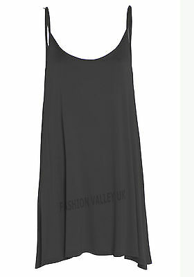 NEW WOMENS CAMISOLE CAMI FLARED SKATER LADIES STRAPPY SWING MINI DRESS TOP 8-22