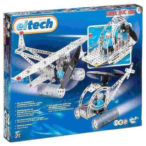 EITECH   00074 Metallbaukasten Helikopter mit solarbetriebenem Motor 300-teilig