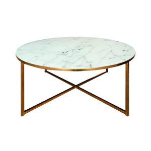 Couchtisch Alisma Beistelltisch Tisch Glas Weiß Marmoroptik Und Gold
