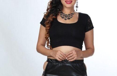 Women/'s Black Crop Top Girls Blouse Ladies Short Sleeve Lace Fitted Vest