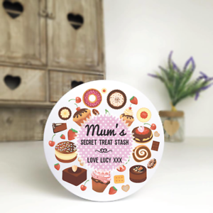 Treat Stash Personalised White Biscuit//Sweet//Cake Tin Mother/'s Day Birthday