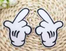 left and right mickey mouse hand/glove mEmbroidered Felt Iron / Sew on Patch