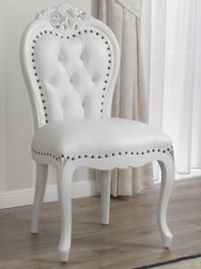 Poltrone In Plastica Stile Barocco.Poltrona Amalia Stile Barocco Moderno Sedia Bianco Laccato E