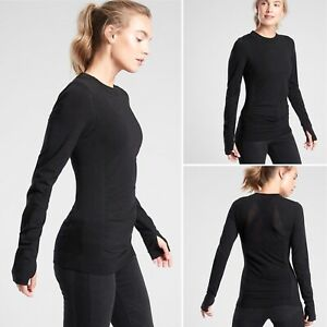 NWT Athleta Foresthill Ascent Top MEDIUM Black Breathable Long Sleeve Ruched