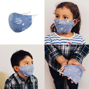 Kinder-Mund-Nasen-Maske-Stoffmaske-Gesichtsmaske-034-Universum-034-100-Baumwolle