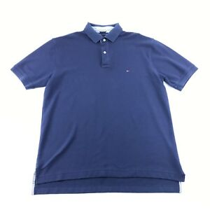 Tommy-Hilfiger-Mens-Blue-Short-Sleeve-Collared-Polo-Shirt-L