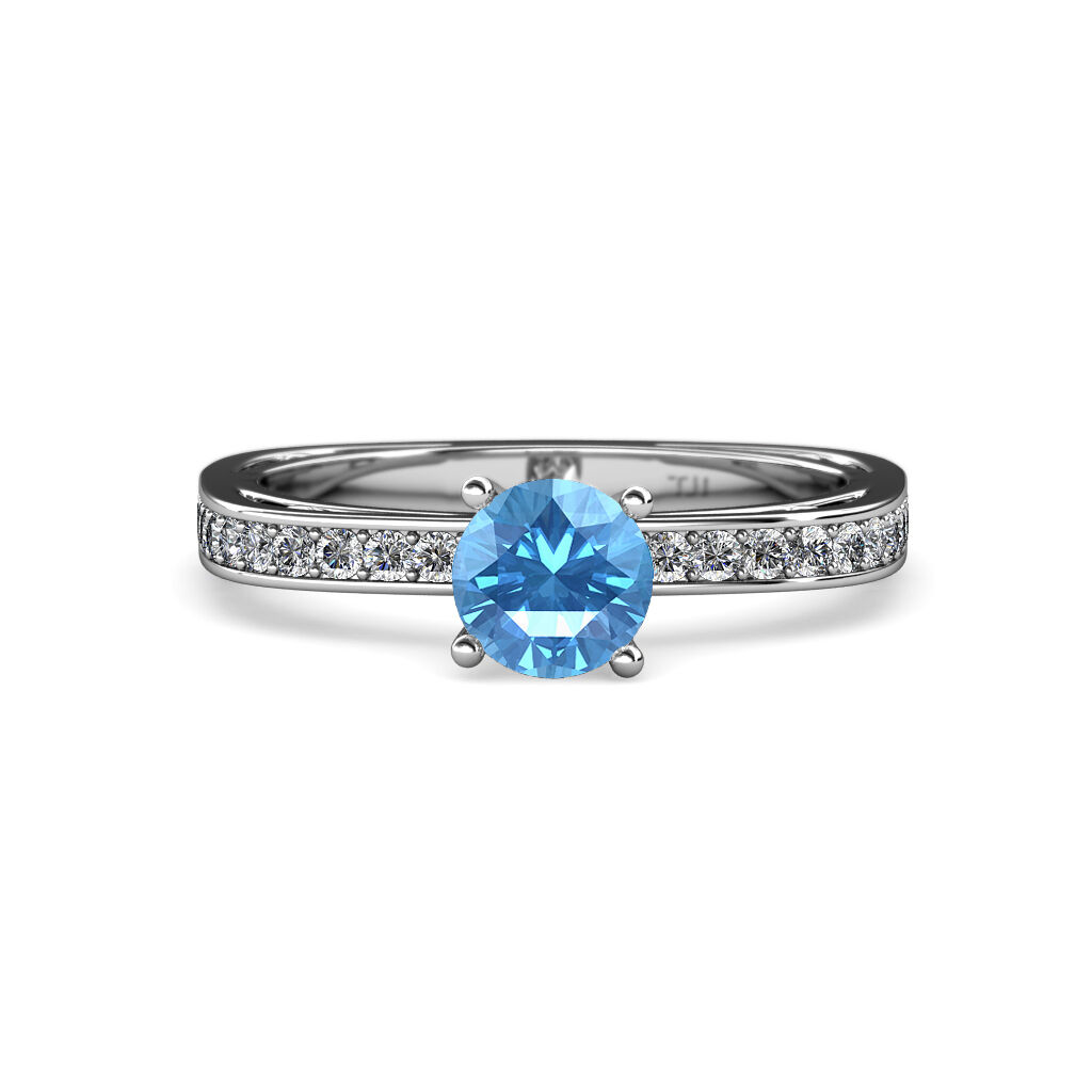 bluee Topaz & Diamond Euro Shank Engagement Ring 0.90 ct tw in 14K gold