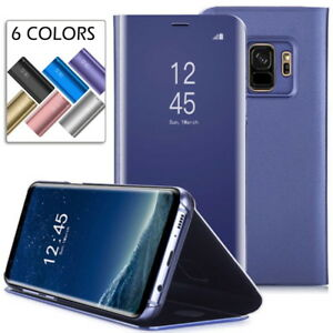 low priced 353fd 05f3d Smart Case For Samsung Galaxy S9 Plus Clear View Mirror Leather Flip ...