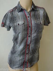 filles-noir-blanc-carreaux-100-coton-shirt-chemisier-top-age-15-16-ans