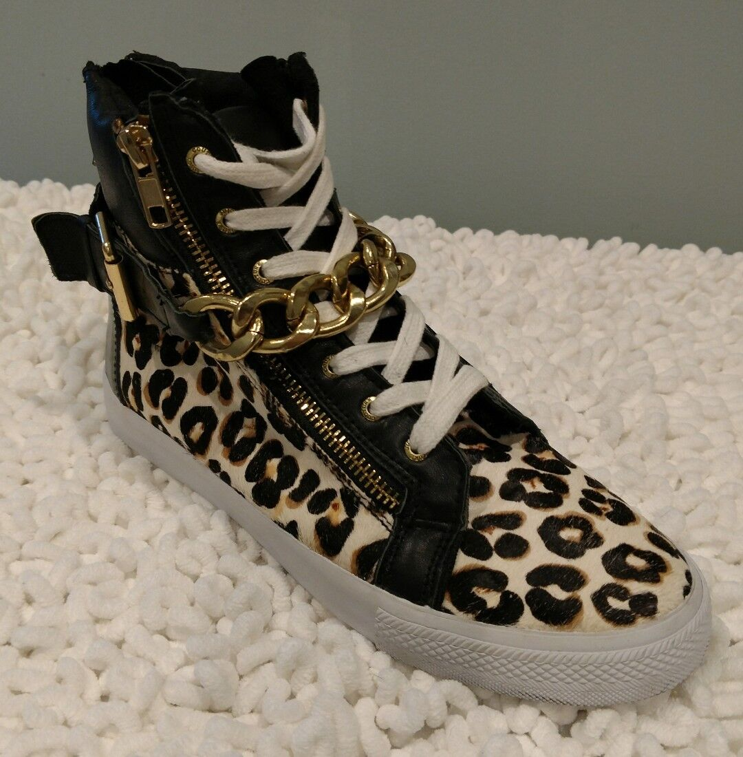 Juicy Couture high top leather/pony hair scarpe da ginnastica size 7 Animal print  159