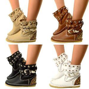 Details zu Damen Indianer Stiefel Ibiza Ankle Boots MADE IN ITALY Echtleder KIKKILINE Sandy