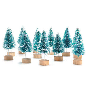 NUOVO-12pcs-MINI-Sisal-BOTTIGLIA-PENNELLO-alberi-di-natale-neve-gelo-VILLAGGIO-Putz-GRANDE