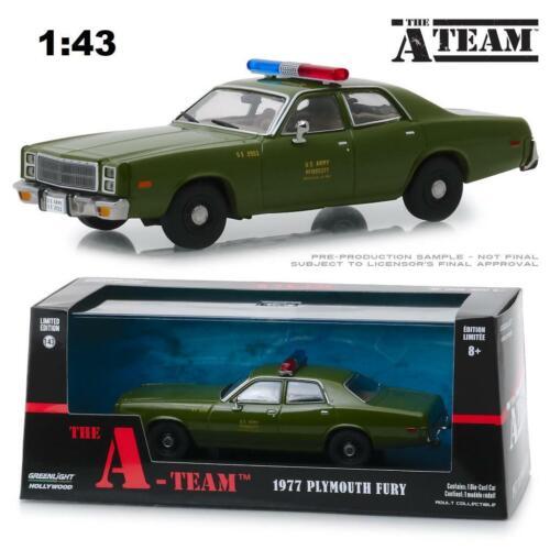 "Greenlight 86556 1977 Plymouth Fury US Armee Polizei Zoll Die A-Team /"" Diecast 1"