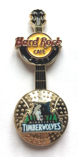 Minnesota Timberwolves Hard Rock Cafe Pin Badge NBA BasketBall 3D Logo Guitar