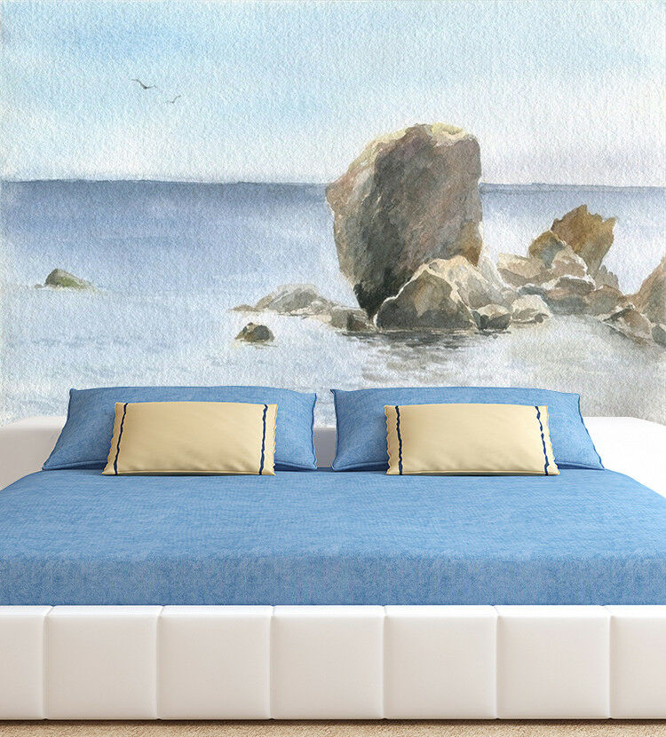 3D Sky Stone Sea 973 Wallpaper Mural Paper Wall Print Wallpaper Murals UK