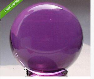 Beautiful-Purple-Magic-Glass-Crystal-Ball-Sphere-40mm-Stand-S386