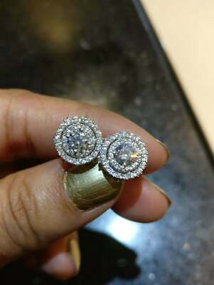 18K White Gold Finish 3Ct Round Cut VVS1//D Diamond Push Back Halo Stud Earrings