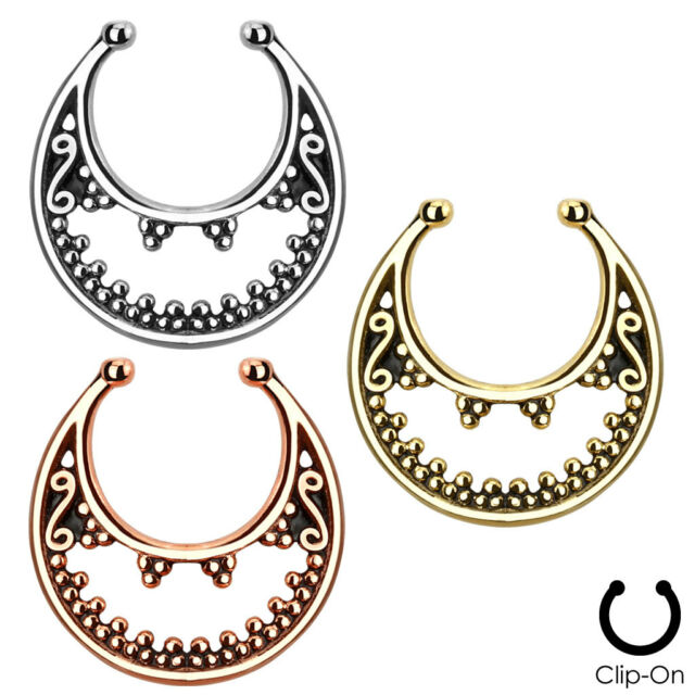 Faux Non-Piercing Luna Design SEPTUM Nose Clip-On Hanger RING Studs Body Jewelry