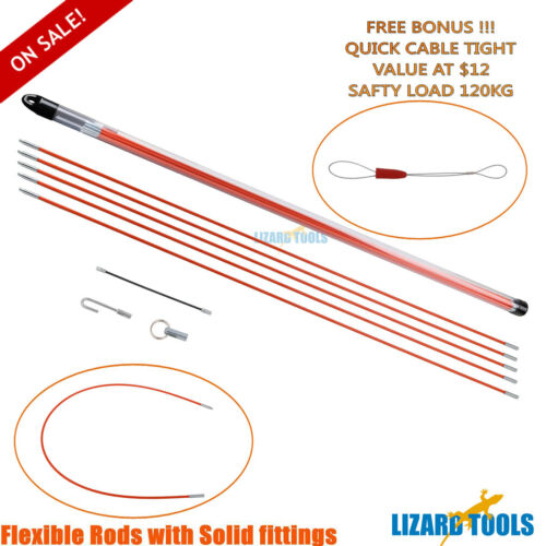 10M 5mm Taiwan Fiberglass Cable Push Puller Snake Rod NBN Telstra Rodder