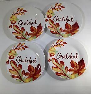 Royal Norfolk Salad Dessert Bread Plates Grateful Fall Oak Leaves Acorns