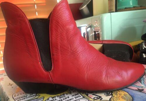 Flings 1980s Vintage Deadstock Red Chelsea Ankle B