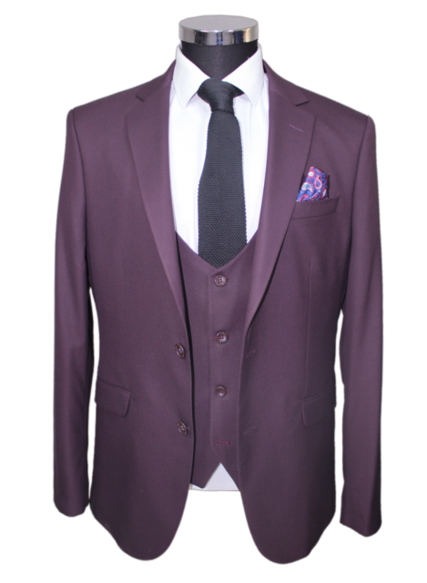 Jack Martin - Burgundy Superior Semi Slim Fit 3 Piece Suit