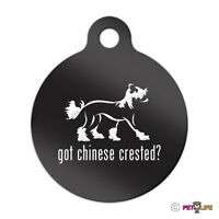 Got Chinese Crested Engraved Keychain Round Tag W/tab V2 Puff Many Colors