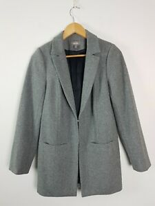 Sussan Grey Wool Blend Over Coat Jacket Women's Size 10 Lined Winter Pockets