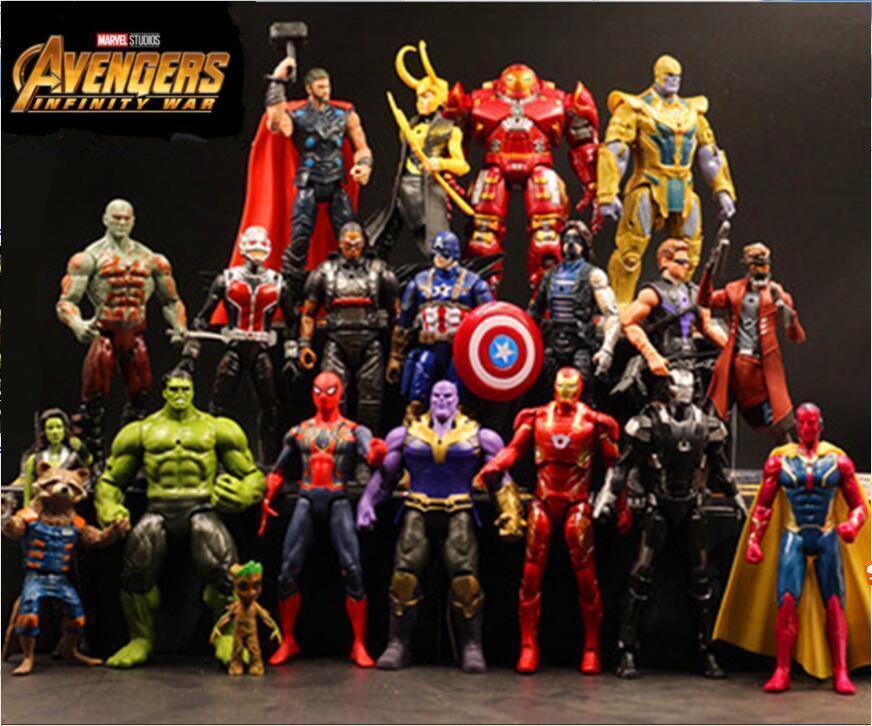 20pcs Marvel Avengers Captain America Hulk Thanos Thor Groot Hero Acción Figuras