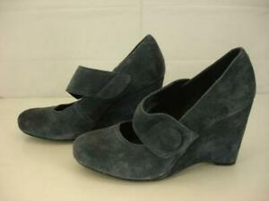 Womens-9-M-Born-Crown-Lusi-Mary-Jane-Jeans-Suede-Leather-Wedge-High-Heel-Shoes