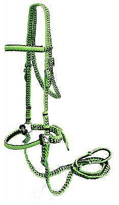 NEW HORSE TACK! LIME GREEN//BLACK Braided Nylon Bit Less Bridle with Reins